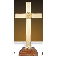 "Brass Wood Altar Cross 24"" High With IHS Emblem"