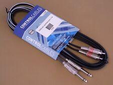Bag of 2 CONTROL CABLES 3390 - 2 Metal Mono Jacks to 2 Metal Phono Plugs, 3m NEW