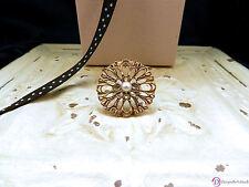 SARA BLAINE Dahlia Ring ~ Sterling Silver Brass White Pearl  ~ Size 7