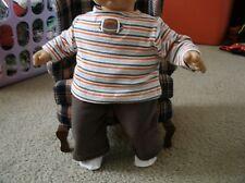 handmade bitty baby boy brown fleece pants/striped football tee 568
