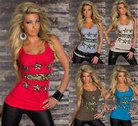 Top Canotta Donna T-shirt Maglietta M & V B514 Tg L/XL