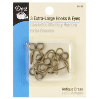 DRITZ EXTRA LARGE HOOK & EYES - ANTIQUE BRASS - USE IT IN CRAFTS TOO!!