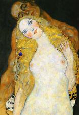"""GUSTAV KLIMT : ADAM AND EVE (DETAIL) VIENNA SECESSION  24"""" FINE ART CANVAS PRINT"""