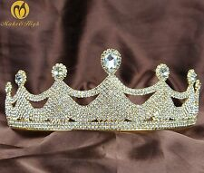 Clear Rhinestones Wedding Pageant Party Girl Tiara Crown Gold Plating Headpiece