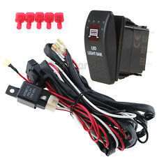 Car 12V 40A LED Work Light Bar ON/OFF Red LED Switch Relay Wiring Harness Kit