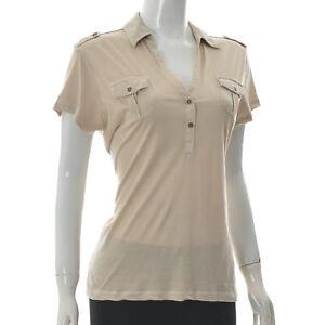 Marc O'Polo Women's Two-Button V-Neck Polo T-Shirt Short Sleeve Pocket Tee L