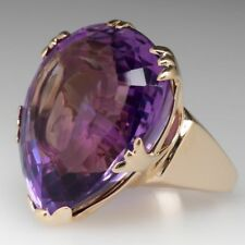 5 ct Amethyst Purple large Pear Women's Cocktail Ring 14k Yellow Gold Finish