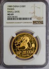 1989 China Gold Panda Small Date 5-coin set NGC MS69 #3518