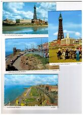 Set of 4 vintage Blackpool postcards - Tower, Promenade, Sand and Donkey