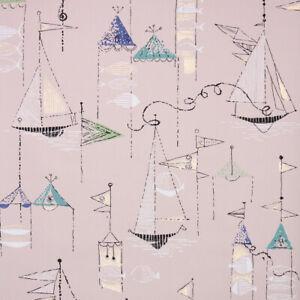 1950s Novelty Vintage Wallpaper Midcentury Geometric Sailboats Pink Gold Blue