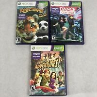 Lot of 3 Xbox 360 Kinect Games Kinectimals Adventures Dance Central All Complete
