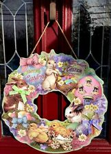 """Happy Easter Bunny Chick egg wreath Wall Hanging DECOR Pick Swag Chocolate 20"""" R"""