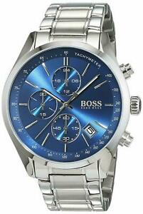 Hugo Boss HB1513478 Mens Grand Prix Blue Dial Stainless Steel Chronograph Watch