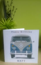 "Personalised 6""sq VW Camper Van Birthday Anniversary Good Luck Card Husband Dad"