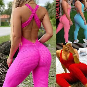 Womens Sports Yoga Jumpsuit Bodysuit Pants Anti-Cellulite Workout Gym Leggings
