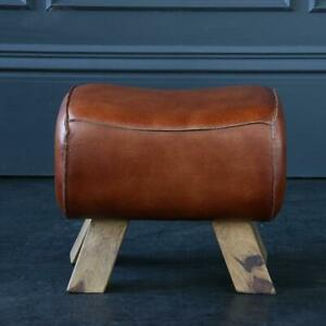 Pommel Horse Low Stool Tan Leather Seat with Natural Wooden Legs