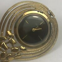 Baylor Women Gold Stainless Steel Back Black Dial Pendant Analog Wind Up Watch