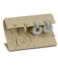 """MODERN BURLAP EARRING DISPLAY STAND CURVED EARRING STAND JEWELRY DISPLAY 2 1/4""""H"""