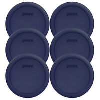 Pyrex 7201-PC Round 4 Cup Storage Lid Cover Blue 6 Pack New for Glass Bowl