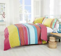PAISLEY GEOMETRIC STRIPED PINK TEAL COTTON BLEND DOUBLE DUVET COVER