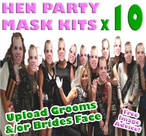 10 x Personalised Photo Face Masks Kits - Hen Party Hen Do Groom Masks Hen Masks
