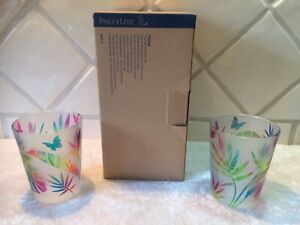 NEW Partylite Tropical Frosted Glass Votive Holder Pair