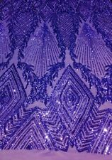"PURPLE JEWEL  Big Print, Sequin, 4-way Stretch, SOLD BY THE YARD 55"" WIDE"
