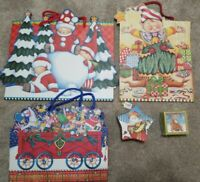 Lot of Mary Engelbreit Christmas Gift Bags, hanging ornament box, gift box 34693