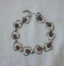 Rose Quartz Heart Bracelet Sterling Silver Sweden Scandinavian Modern MidCentury