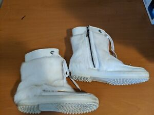 Tod's Vibram Beautiful Cool Trendy Fur Boots White Cold Snow Water Winter 9.5 HI