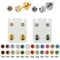 PAIR 316l Surgical Steel CZ Birthstone Ear Stud Cartilage Piercing Earrings
