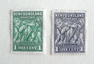 Newfoundland - Canada- Two, 1 Cent Unused Stamps-  Green & Grey COD FISH VG