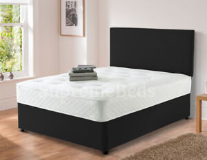 Brand New Suede Velvet Divan Bed with Headboard and Mattress All Sizes Available