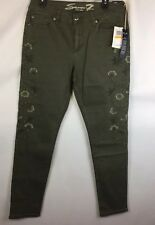 SEVEN 7 WOMENS FLORAL EMBROIDERED OLIVE GREEN SKINNY JEANS SIZE 12 $89