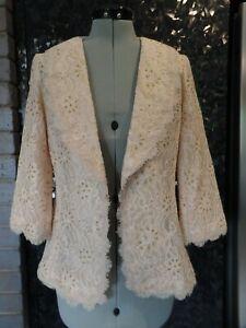 new 10 S vintage look cream gold metallic lace DOLINA  coat jacket WEDDING EVENT