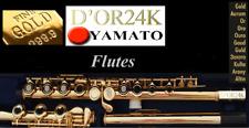 24k Gold Transverse Flute Open Holes B-Foot Flute Oro Flûte or Flauta Oro