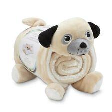 NEW Piper Cuddle Friends Throw & Pillow Dog shaped kids fleece blanket set beige