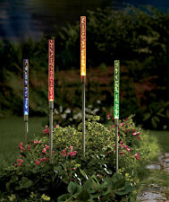 Set of 4 Multicolored Solar Tube Bubble Lights Pathway Walkway Garden Yard Decor