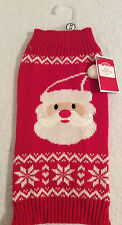 Medium Santa Face Dog Sweater Red White NEW