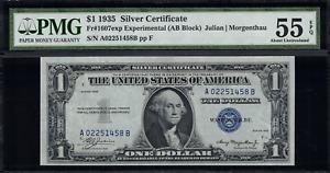 1935 $1 Silver Certificate Experimental A-B Block FR-1607 - Graded PMG 55 EPQ