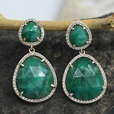 Emerald (Beryl) CZ Post Dangle Earring 3cm 925 Sterling Silver Jewelry SE2428