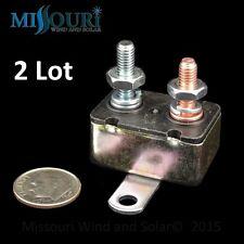 2 - 12 volt 50 Amp  DC auto reset wind turbine generator fuse circuit breakers