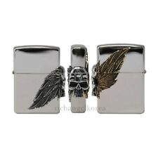 Zippo Lighter TWO TONE WINGS Silver Skull Brass High Polish Edge Windproof USA