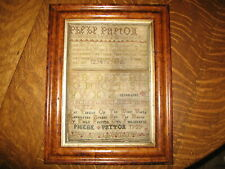 Antique Early 18th Century Sampler by Phebe Peyton dated 1727