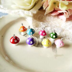 Simulation Mushroom Pendants Cute DIY Jewelry Making Earrings Necklace 30Pcs