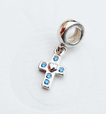 """Genuine Pandora Hanging Charm """"Cross with Blue Crystals"""" - 790355CZB - retired"""