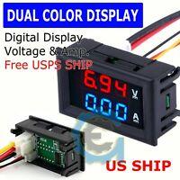 Mini DC 100V 10A Digital Voltmeter Ammeter Blue Red LED Volt Amp Meter Gauge US