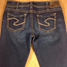 SILVER Jeans SUKI MID BABY BOOT 30x33 Darker Blue Distressed  *XLNT EUC* L052318