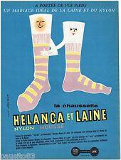 PUBLICITE ADVERTISING 115  1957  les chaussettes HELANCA & LAINE par JEAN COLIN