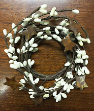 """Candle Napkin Ring 2"""" - Pip Berry W/ Rusty Tin Stars - Ivory"""